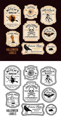 Halloween Bottle Labels by Fete Halloween, Halloween Quotes, Halloween Signs, Diy Halloween Decorations, Holidays Halloween, Halloween Crafts, Halloween Logo, Spooky Halloween, Vintage Halloween