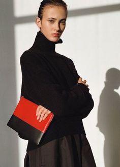 Celine Turtleneck Sweater / Culottes / Carmin/Navy Solo Clutch Pouch Bag - handbag bag, bags for women sale, bag lady *ad