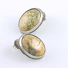 Jasper Ear Studs - Two beautiful oval jasper stones set in a beaded silver bezel - by CreativeDexterity