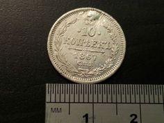 Antique c. 1867 silver coin 10 ten kopeks Russia Finland Rusland Russie