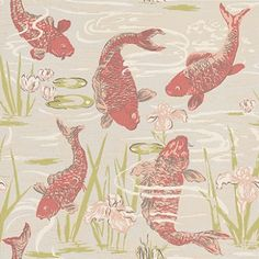 Lagoon (LAGOON/001) - Blendworth Wallpapers - An all over wallpaper featuring a lagoon of stylised Koi Carp. Shown here in coral, green and grey. Other colourways are available. Please request a sample for a true colour match. Paste-the-wall product.