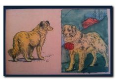These charming dogs are from an early 20th century coloring book. A child from long ago has almost colored within the lines. From the Liza Cowan Ephemera Collections    6 1/2 x 10 x .1/4 inches. Fine art laminated on composition board with keyhole in back for easy hanging. Really, all you need is a pushpin and this beauty is ready to go. Sleek and stylish, this will delight any dog lover. $35 smallequals.bigca...