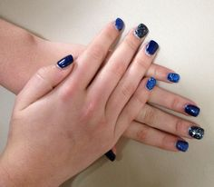Dark blue, large black glitter, large blue glitter, small blue glitter nails by Maddy.