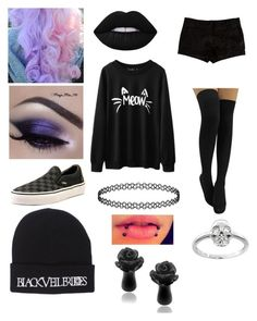 """Pastel Goth"" by emo-oreo-cookie ❤ liked on Polyvore featuring Lime Crime, L'Agence, Vans and Eternally Haute"