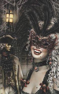 Vampire fantasy art by Victoria Frances Art Vampire, Vampire Photo, Vampire Love, Female Vampire, Masquerade Vampire, Masquerade Ball, Masquerade Tattoo, Halloween Masquerade, Gouts Et Couleurs