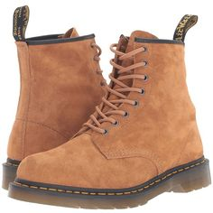 Dr. Martens 1460 (Tan Soft Buck) Lace-up Boots (€120) ❤ liked on Polyvore featuring shoes, boots, tan leather boots, leather lace up boots, tan leather shoes, aztec boots and dr martens shoes