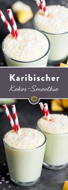 Karibischer Ananas-Mango-Smoothie mit Kokosmilch The basis: pineapple and mango. In addition, lime, coconut milk and coconut flakes – for freshness, creaminess and the Caribbean feeling. Mango Smoothies, Mango Pineapple Smoothie, Healthy Smoothies, Pineapple Juice, Smoothie Bowl, Smoothie Drinks, Smoothie Detox, Coconut Milk Drink, Coconut Milk Smoothie