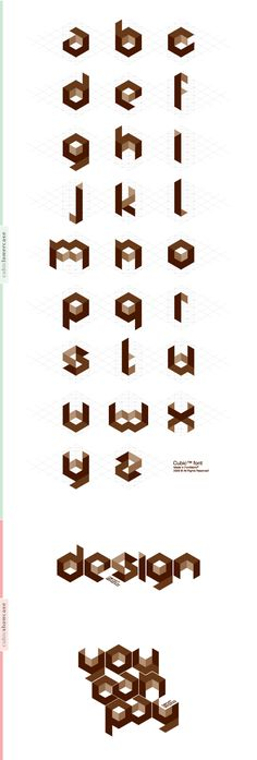 """RCUBE Main title font  The lower case letter styles for the """"Cubic Font""""."""
