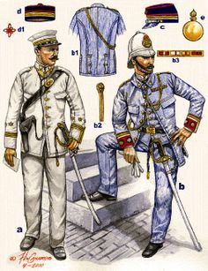 Spanish officers in Puerto Rico - Spanish American War 1898.