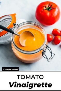 This tomato vinaigrette is quick to blend up and comes out zingy and creamy! It's a perfect use for fresh ripe tomatoes.   summer recipes   salad dressing recipes   tomato recipes   vegetarian recipes   vegan recipes   plant based recipes   dairy free recipes   #tomato #vinaigrette #tomatovinaigrette #saladdressing #summer #dressing #salad Vegan Recipes Plant Based, Healthy Dessert Recipes, Vegetarian Recipes, Cooking Recipes, Quick Recipes, Summer Recipes, Free Recipes, Tomato Vinaigrette Recipe, Salad Dressing Recipes