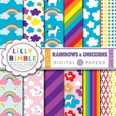 80% off Rainbow digital papers with unicorns retro by LillyBimble