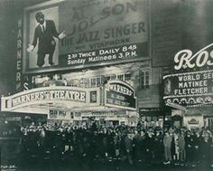 "On October 6, 1927, The Jazz Singer premieres at the Warner theater in New York City, marking the ascendance of the ""talkies"" and the decline of the silent film era."
