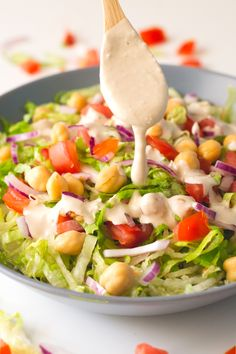 """Simple salad with oil-free tahini dressing. Pinner wrote: """"my all-time favorite salad dressing and it tastes so good! Tahini Salad Dressing, Salad Dressing Recipes, Salad Recipes, Raw Food Recipes, Clean Eating Recipes, Healthy Recipes, Delicious Recipes, Tasty, Main Dish Salads"""