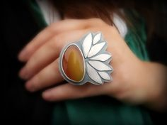 Ring | Mercury Orchid Designs.  'Sun Stone'   Queensland Agate and sterling silver.