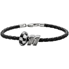 Insignia Collection Nascar Denny Hamlin Leather Bracelet and Sterling... ($70) ❤ liked on Polyvore featuring jewelry, bracelets, black, black bangles, sterling silver bead bracelet, sterling silver bangles, sterling silver jewelry and sterling silver bracelet bangle