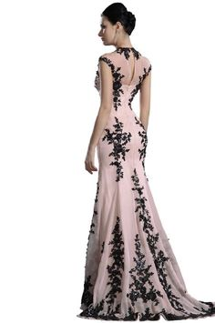 New High Neck Black Lace Elegant Evening Dress Prom Ball Gown: Clothing