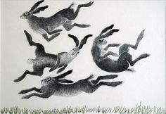 "Fountain Fine Art - Work by Anne Mieke Lumsden - Titled ""Flock of Hares"" Hare Illustration, Animal Art, Drawings, Linocut, Animal Sketches, Illustration Art, Art, Bunny Art, Animal Illustration"