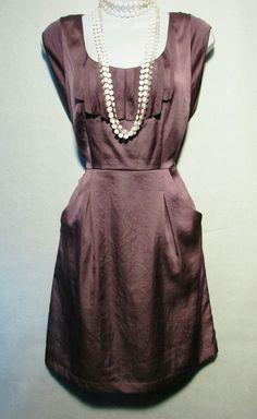 Sz 0 Ann Taylor Loft Plum Color Dress with Pockets   eBay