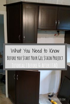 Here's what you need to know before you start a gel stain project! Check out the tutorial with 11 simple steps for the perfect gel stain finish on kitchen cabinets! I did the kitchen and bathroom cabinetry with general finishes gel stain in antique walnut.. check out the before and after pictures on my blog as well as the full tutorial!