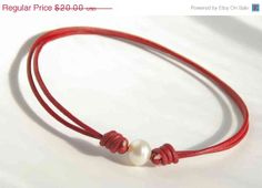 Darlin? Freshwater Pearl Red Leather Anklet. Bracelet. by craftyjules, $18.00