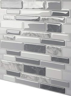 Tic Tac Tiles Polito x 10 Peel & Stick Mosaic Tile in Gray Kitchen Backsplash Peel And Stick, Grey Backsplash, Peel And Stick Tile, Stick On Tiles, Kitchen Tiles, Kitchen Colors, Kitchen Countertops, Kitchen Design, Contemporary Kitchen Backsplash