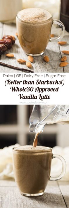 Whole30 Vanilla Latte Coffee - a dairy free, refined sugar free Whole30 approved and paleo vanilla latte that is better than Starbucks!