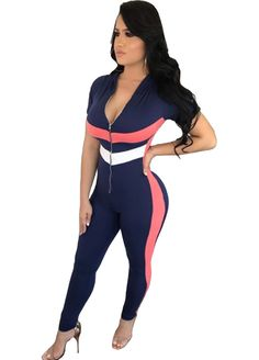 Zip Me Up Short Sleeve Fitted Jumpsuit_Jumpsuit & Rompers_Women Clothes_Sexy Lingeire | Cheap Plus Size Lingerie At Wholesale Price | Feelovely.com