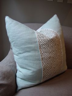 Quatrine linen pillow with a contemporary center panel