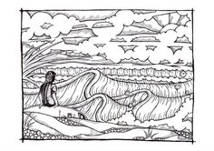 'Waiting' pen and ink by Huw Williams