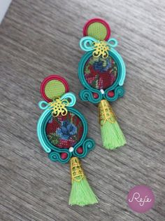 Soutache Earrings  Handmade Hand Embroidered by Rejesoutache