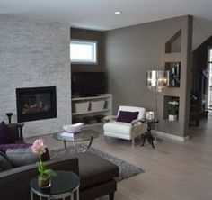 Grey, purple and white mix Contemporary Living Room Interior Designs in Elegant Decorations