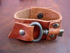 The Locksmith Cuff - Whiskey Leather Cuff with Rustic Vintage Key - Rust Steampunk Rocker Biker Snap Bracelet  Ready to Ship  For all you