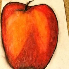 apple oil pastel art made by Cariann Burleson