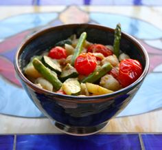 Pasta with Chickpea-Garlic Sauce and Grilled Veggies via Food from the 12