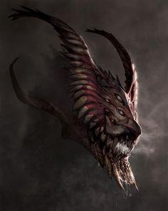 Hyperdontius by Kezrek Dragon art Dark Creatures, Mythical Creatures Art, Mythological Creatures, Fantasy Creatures, Monster Concept Art, Fantasy Monster, Monster Art, Creature Concept Art, Creature Design