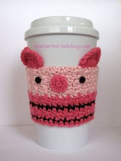 Free crochet Piglet Coffee Cup Cozy pattern by The Enchanted Ladybug