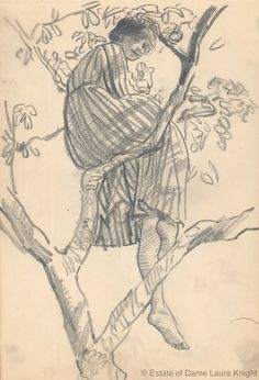 Dame Laura Knight, Study of a model relaxing in tree, probably ca. 1916 pencil on wove paper, Laura Knight. Inspiration Art, Sketchbook Inspiration, Art Inspo, Figure Drawing, Drawing Reference, Painting & Drawing, Photo Reference, Art And Illustration, Medical Illustration