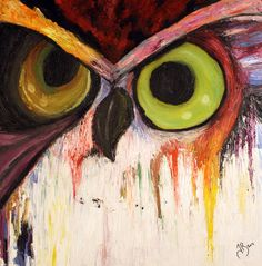 Vibrant Paintdrip Owl  Print by olivineeyes on Etsy, $8.00