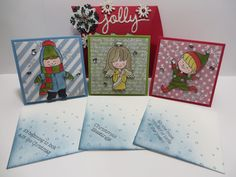 """Stampin' Up Christmas Cuties 3""""x3"""" water colored cards inside Stampin' Up Jolly Square Pillow Box created by Lynn Gauthier using Square Pillow Box and Christmas Greetings Thillits Dies. Go to http://lynnslocker.blogspot.com/2015/09/jolly-christmas-cuties-stampin-up.html to see the details for this project."""