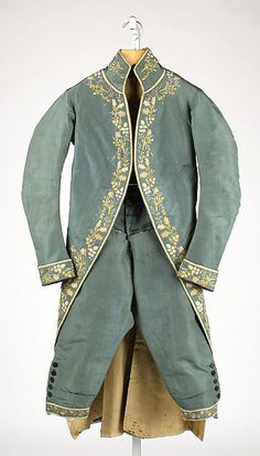 Suit (at the Metropolitan Museum of Art) 1774–93, British Medium: silk Dimensions: Length (a): 44 1/2 in. (113 cm) Length (b): 27 in. (68.6 cm) Gift of Mrs. F.D. Millet, 1913 Accession Number: 13.49.10a, b