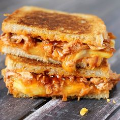 BBQ Chicken & Pineapple Grilled Cheese Recipe Lunch and Snacks, Main Dishes with boneless skinless chicken breasts, bbq sauce, bread, extra sharp cheddar cheese, pineapple, butter, nonstick spray