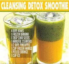 Cleansing Detox Smoothie Good eats and healthy food Detox Diet Drinks, Detox Juice Cleanse, Smoothie Detox, Fat Burning Detox Drinks, Detox Juices, Clean Smoothie, Diet Detox, Fruit Detox, Healthy Detox