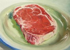 """Daily Paintworks - """"Raw Meat"""" - Original Fine Art for Sale - © Linda Lowery"""