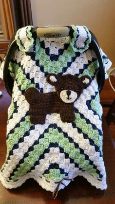 Brown Bear Car Seat Cover & Crochet a car seat blanket or take-along cover for baby patterns ...