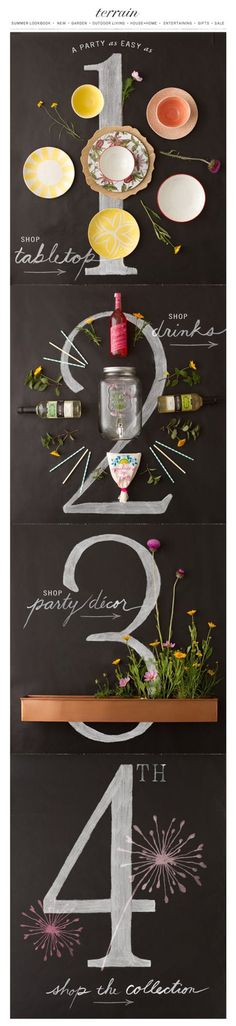 Terrain #email design. Love the chalkboard drawings mixed with photography