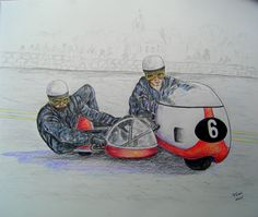 Klaus Enders and Ralf Engelhardt ,BMW 500, winning the Isle of Man 1969. 14x17, graphite & color pencil, finished may 12, 2015.