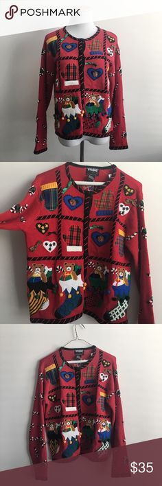 Tacky Vintage Christmas Sweater Cardigan So ugly it's cute! Adorable vintage  tacky Christmas sweater with candy cane arms, bears and presents. Brand is Designer Originals Studio. Perfect condition. 55% Ramie, 45% Cotton. Hand wash. 17 inch shoulders, 36 inch waist, 38 inch busy, 21.5 inch length, 21 inch sleeve. Size small. Sweaters Cardigans