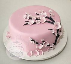 22 Ideas Cake Flower Decorating Cherry Blossoms For 2019 Pretty Cakes, Cute Cakes, Beautiful Cakes, Amazing Cakes, Fancy Cakes, Mini Cakes, Fun Cupcakes, Cupcake Cakes, Cake Fondant