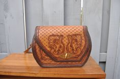 Beautiful Vintage Tooled Leather Purse from Mexico Hand crafted Leather Hand bag by drowsySwords on Etsy