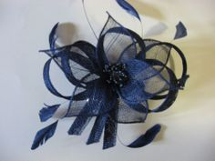 NEW! Sinamay Fascinator Flower Feathers w/Comb, Navy Blue Color 4 Season's Party